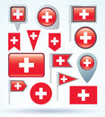 Flag collection of switzerland, vector illustration. Royalty Free Stock Photo