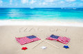 Flag day background on the sandy beach near ocean Stock Photography