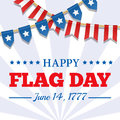 Flag Day background. USA patriotic template with text, stripes and stars. Vector bunting decoration for american party