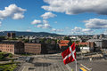 Flag of denmark against the backdrop the waterfront oslo Royalty Free Stock Photos
