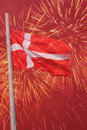 Flag of denmark over fireworks Stock Images