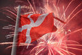 Flag of denmark over fireworks Stock Photography
