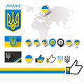 Flag emblem ukraine and world map coat of arms with vector illustration eps Stock Photography