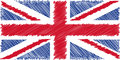 Flag of English pencil drawing vector illustration. Union Jack. Using for decoration works