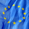 Flag of europe a close up a in the wind Royalty Free Stock Image