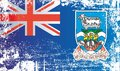 Flag of the Falkland Islands, British Overseas Territories. Wrinkled dirty spots.