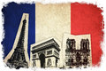 Flag of France with monument : Eiffel Tower