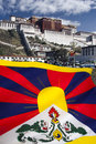 Flag of free tibet potala palace the and the in the city lhasa in in the autonomous region china Stock Photo