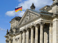 Flag Of Germany On Reichstag Building Berlin Royalty Free Stock Photo