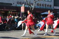 Flag girls chinese new year parade in downtown los angeles february st Royalty Free Stock Photo