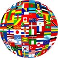 Flag globe Stock Photo