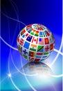 Flag Globe with Light Streak Background Royalty Free Stock Photography