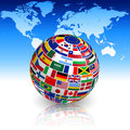 Flag globe with world map Royalty Free Stock Photo