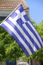 Flag of greece on crete the national in agioi deka Royalty Free Stock Image