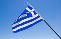 Flag of greece national over blue sky Stock Images