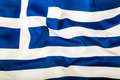 Flag of Greece waving in the wind. Royalty Free Stock Photo
