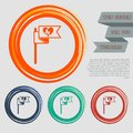 Flag, heart icon on the red, blue, green, orange buttons for your website and design with space text. Royalty Free Stock Photo