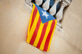 Flag of independent catalonia hanging on wall the Royalty Free Stock Photography