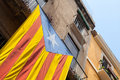 Flag of independent catalonia hanging on the wall facade living house Royalty Free Stock Image