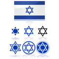 Flag of Israel and star of David Stock Photos