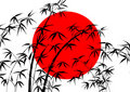 Flag of Japan and bamboo Royalty Free Stock Photo