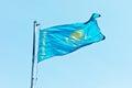 Flag of kazakhstan against blue sky Stock Image