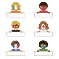 Flag kids holding tags Stock Photo