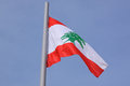 Flag of lebanon over blue sky Stock Image