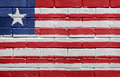 Flag of Liberia on brick wall Royalty Free Stock Photography