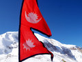 Flag of Nepal in Mountain Royalty Free Stock Image