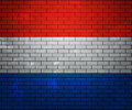 Flag of Netherlands on Brick Wall Stock Image