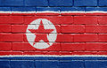 Flag of North Korea on brick wall Royalty Free Stock Image
