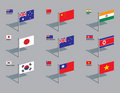 Flag Pins - Asia, Pacific Stock Photography
