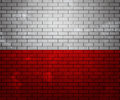 Flag of Poland on Brick Wall Stock Images