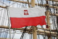 Flag of poland at the sail ship Royalty Free Stock Photography