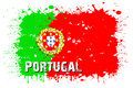 Flag of Portugal from blots of paint