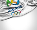 Flag with Rio 2016 Olympic Games Royalty Free Stock Photo