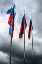Flag of the russia on sky background Royalty Free Stock Photo