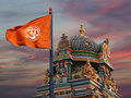 Flag with a sign Om or Aum Royalty Free Stock Photo