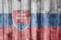 Flag of Slovakia on weathered wood