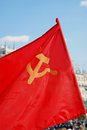 The flag of the soviet union ussr waving in the wind moscow russia may holiday decoration on theatre square by bolshoi theater Royalty Free Stock Image