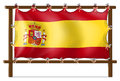 The flag of spain attached to the wooden frame illustration on a white background Royalty Free Stock Photo