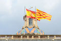 Flag of spain and catalonia barcelona spain at the top palau de la generalitat de catalunya the old city ciutat vella Stock Image
