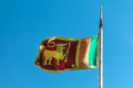 Flag of Sri Lanka with old flag pole Stock Image