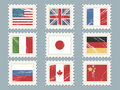 Flag stamps set 1 Royalty Free Stock Photo