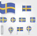 Flag of sweden icon set flags eps Stock Images