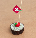Flag of Switzerland on cupcake Royalty Free Stock Photo