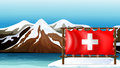 The flag of switzerland at the sea illustration Royalty Free Stock Images