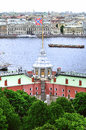 Flag Tower of Peter and Paul Fortress and water area of Neva river in Saint Petersburg, Russia Royalty Free Stock Photo