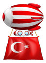 The flag of turkey attached to floating balloon illustration on a white background Royalty Free Stock Photos